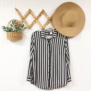 Divided | H&M | Striped Button Front Top